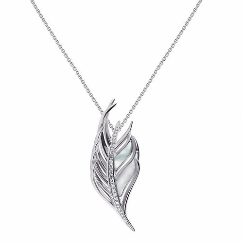 Mother of pearl Diamond feather Necklace crafted in sterling silver 1421122
