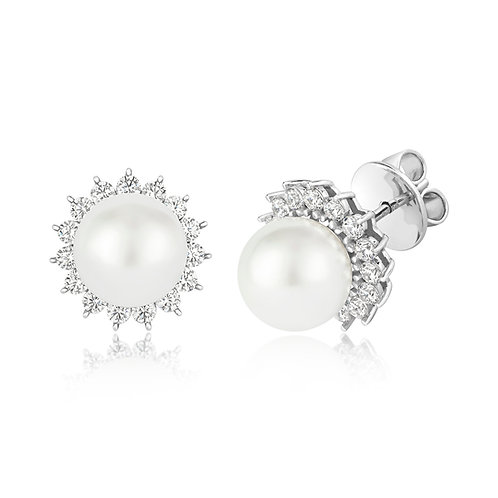 LapidaryLEG0105 ClusterStudsPearl Sterling Silver CZ Claw Earrings 1422171