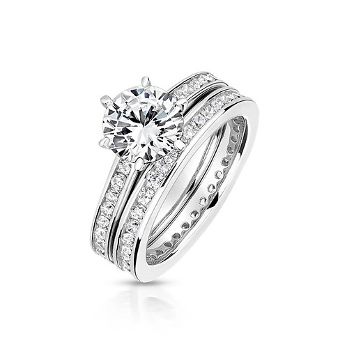 Lapidary LRG0005 CZBridal Set Channel SetSterling SilverRing 1403660