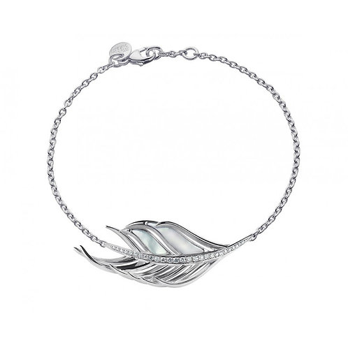 Mother of pearl Diamond feather Bracelet crafted in sterling silver 1405632