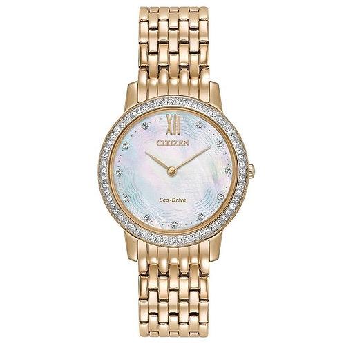 Citizen EX1483-50D Silhouette Crystal LadiesRose Gold Eco-Drive Watch 2601138
