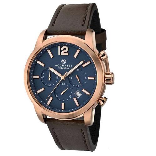Accurist 7021 Gents Strap Rose Tone Chronograph Quartz Watch 2704003