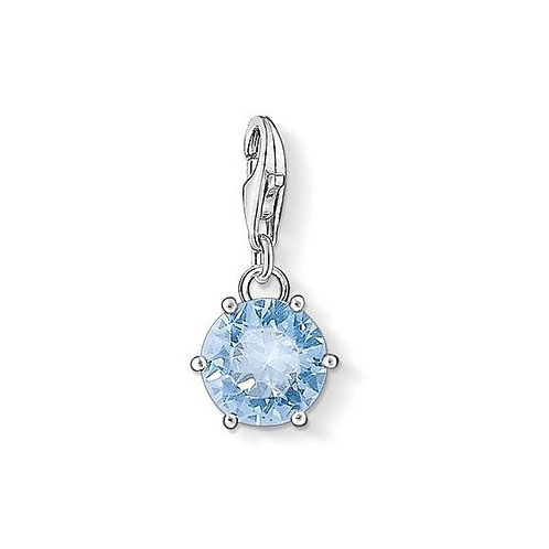 Thomas Sabo 1122 Blue Crystal Drop Silver Charm 3321122