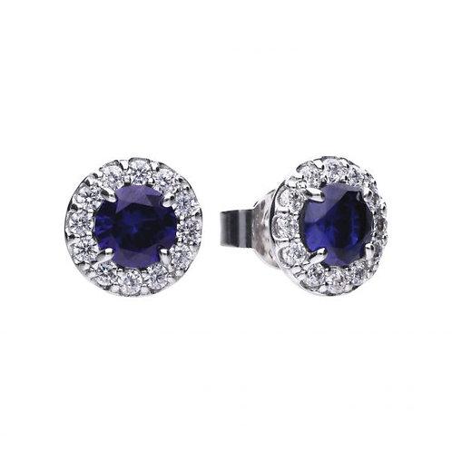 DIAMONFIRE BLUE SAPPHIRE COLOURED OVAL HALO EARRINGS