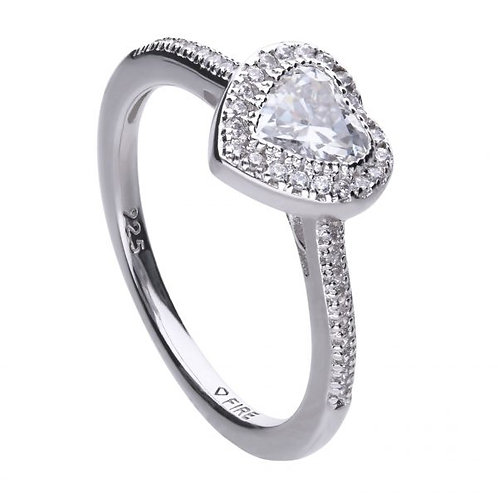 DIAMONFIRE PAVE HEART STERLING SILVER RING