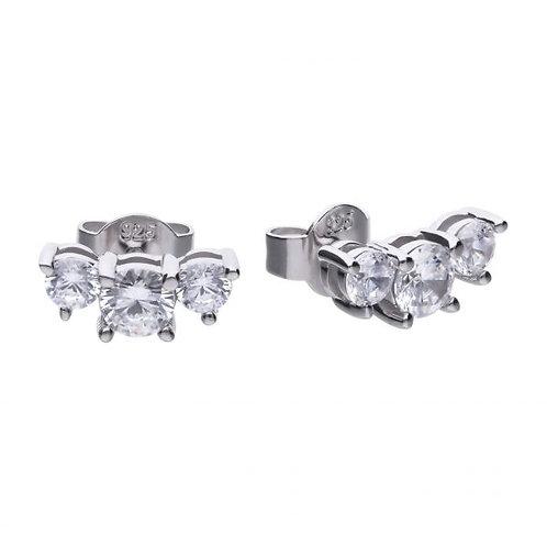 DIAMONFIRE THREE STONE TRILOGY STUD STERLING SILVER EARRINGS