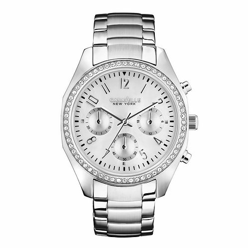 Caravelle New York 43L159 Ladies Silver Tone Chronograph Quartz Watch 2901562