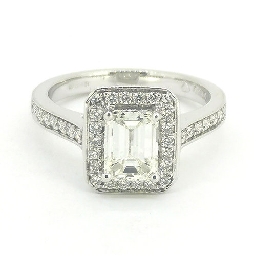 1.33ct Platinum Emerald Cut Halo Diamond Engagement Ring 0112206