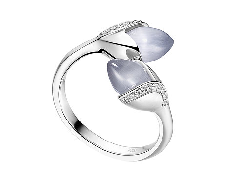 Magnolia ring double cat's eye stone and cubic zirconia 4503008