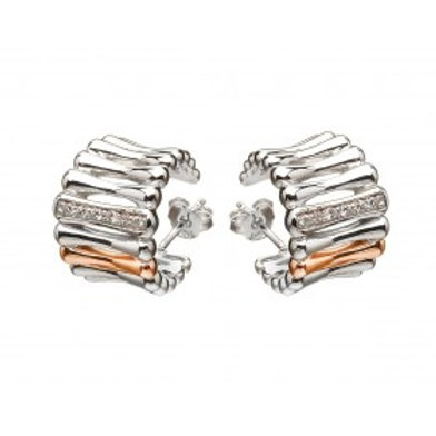 House of Lor H-30002 Sterling Silver & Rose Gold Earrings 1402910