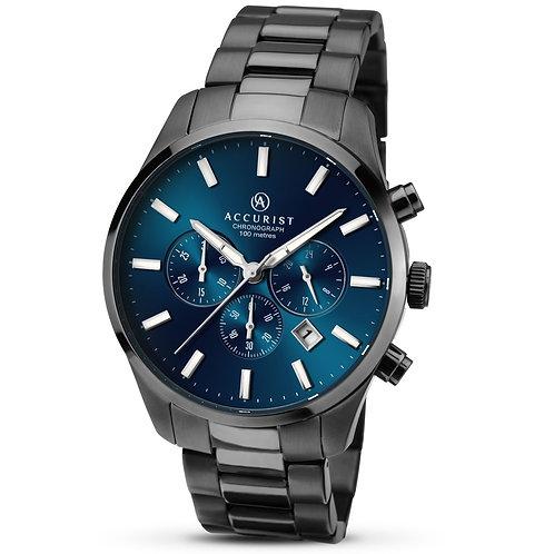 Accurist 7137 Gents Bracelet Black Tone Chronograph Quartz Watch 2703030