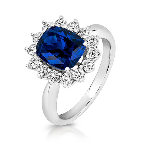 Lapidary LRG0031S CZ Blue Cluster Set Sterling Silver Ring