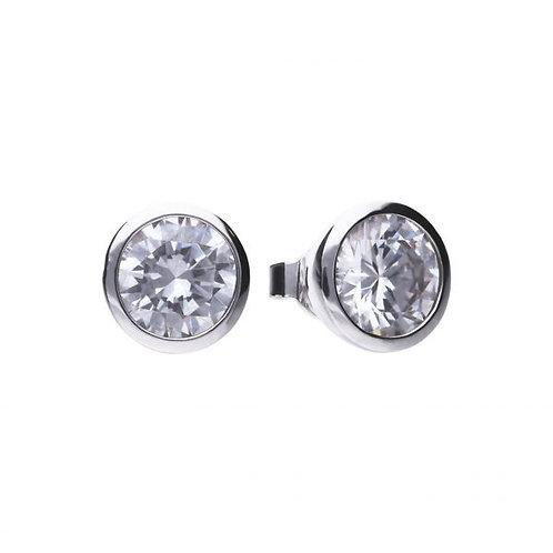 DIAMONFIRE BEZEL SET 4CT SOLITAIRE STUD STERLING SILVER EARRINGS
