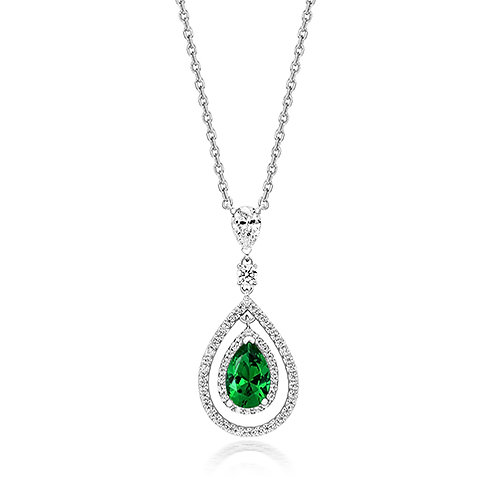 Lapidary LPG0007E Green CZ Halo Swing Sterling Silver Necklace 1407444