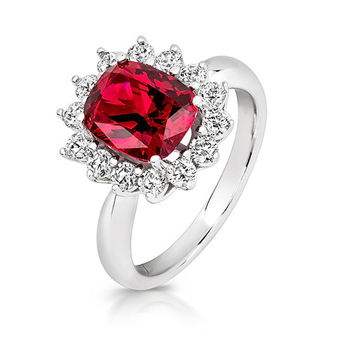 Lapidary LRG0031RCZ Red ClusterSetSterling SilverRing 1403630