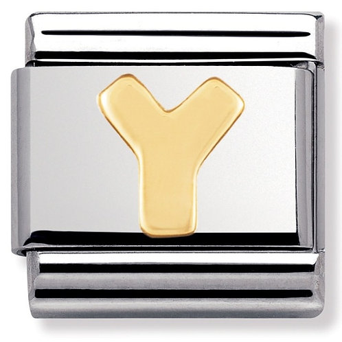 Nomination 030101 25 Classic 18kt Gold and Stainless Steel Letter Y Link Charm