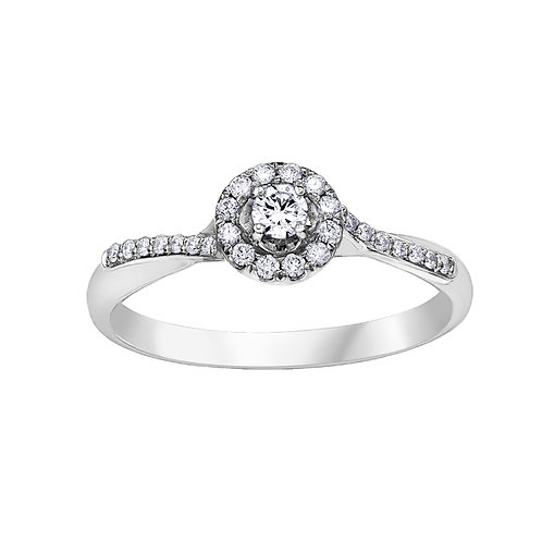 0.25ct Diamond Halo 9kt White Gold Engagement Ring 0112247