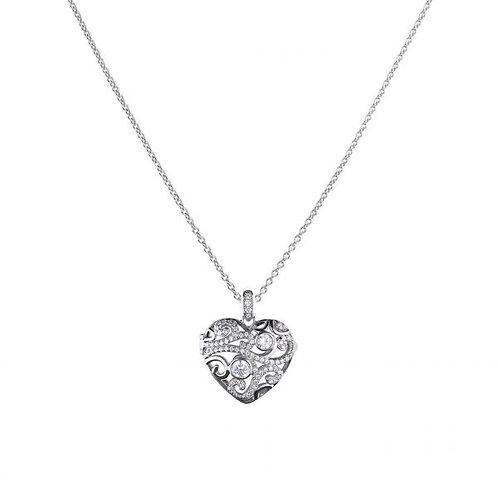 DIAMONFIRE HEART FILIGREE STERLING SILVER PENDANT