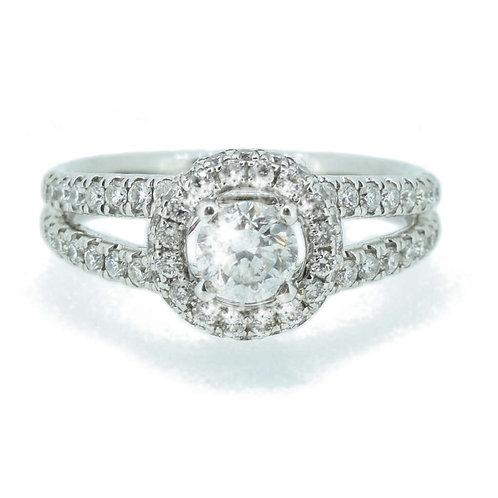 1.17ct Brilliant Cut 18kt Gold Diamond Halo Engagement Ring 0112172