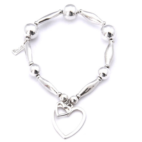 Chlobo CSA1 Chunkie 1 Heart OP Sterling Silver Bracelet 1405464