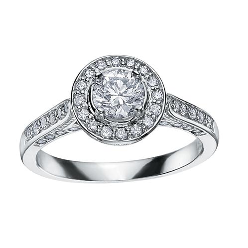 1.00ct Brilliant Cut 18kt Gold Diamond Halo Engagement Ring 0112061