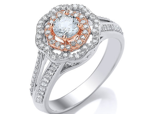 0.62ct Vintage Style Diamond Engagement Ring set in 18kt White/Rose Gold 0112263