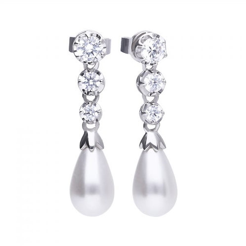 DIAMONFIRE SYNTHETIC PPEARL AND ZIRCONIA STERLING SILVER EARRINGS