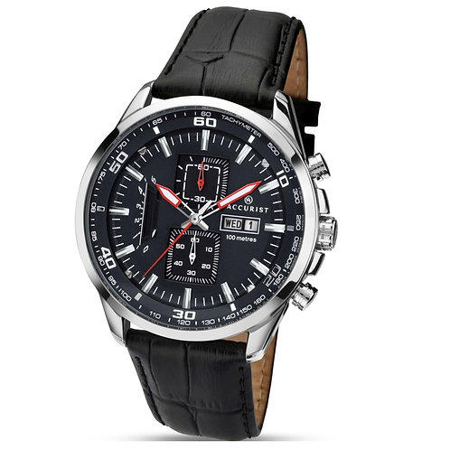 Accurist 7004 Gents Strap Silver Tone Chronograph Quartz Watch 2704001