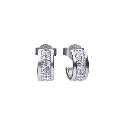 DIAMONFIRE CLASSIC HALF CREOLE STERLING SILVER EARRINGS