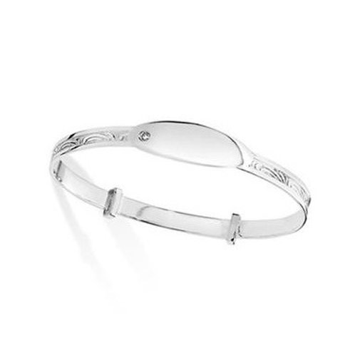 Sterling Silver Christening CZ ID Expanding  Baby Bangle SBA019A / 1414081