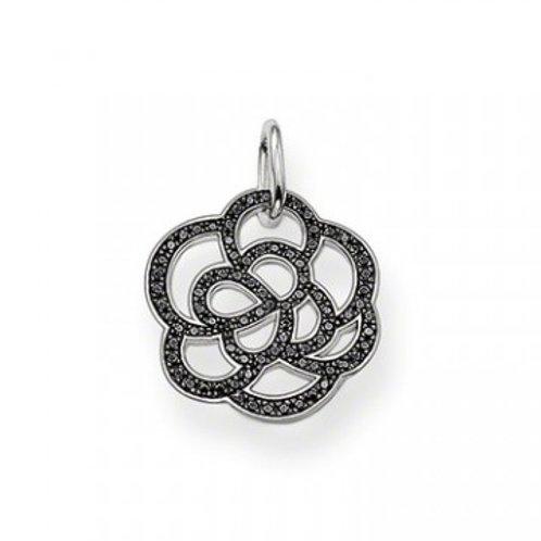 Thomas Sabo PE520-051-11 Sterling Silver Black Cz Flower Pendant 3301478