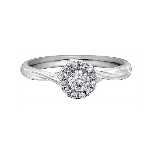 0.20ct Brilliant Cut 9kt White Gold Diamond Halo Engagement Ring 0112248