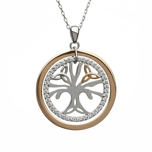 House of Lor H-40034 Sterling Silver and Rose Gold CZ Tree of Life Necklace