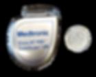 Implantable cardioverter defibrillator size compared to quarter