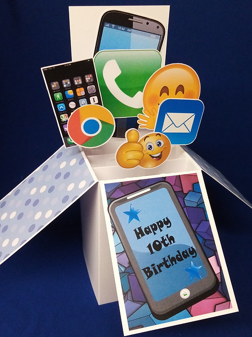 Boys 10th  Birthday Card with Mobile Phones