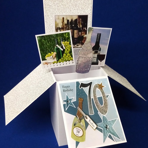 Men's 70th Birthday Card with Wine