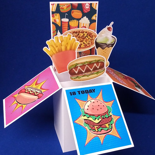 18th Birthday Card with Fast Food