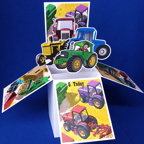 Boys 5th Birthday Card with Tractors