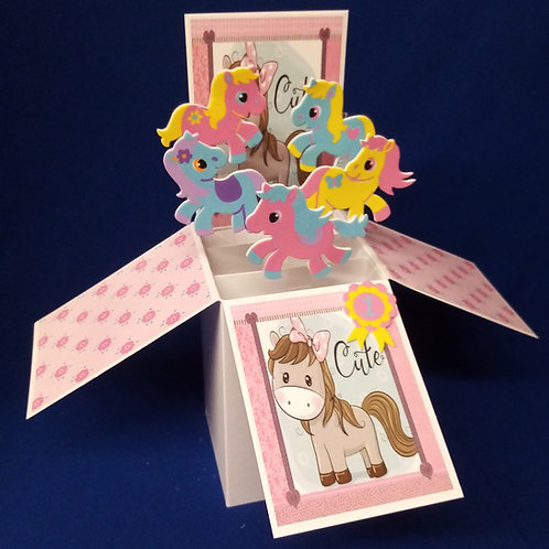 Girls Birthday Card with Horses