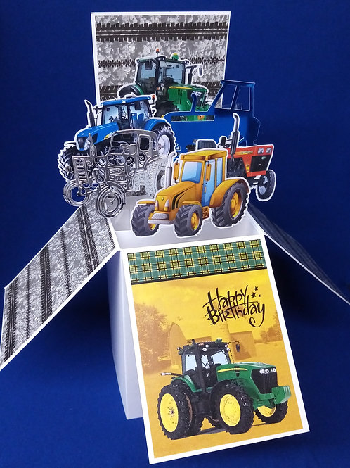Birthday Card with Tractors