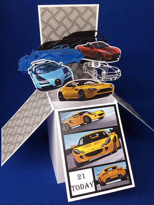 Men's 21st Birthday Card with Cars