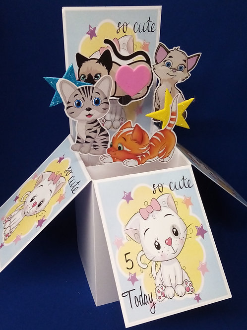 Girls  5th Birthday Card with Cats