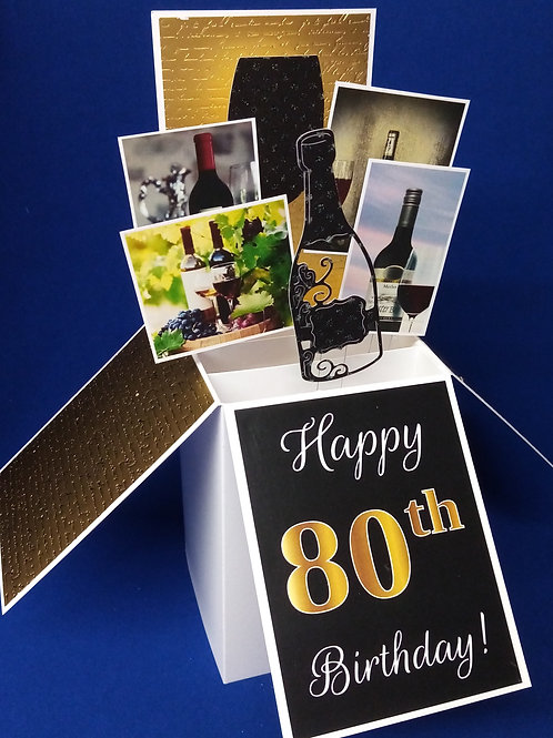 Men's 80th Birthday Card with Wine