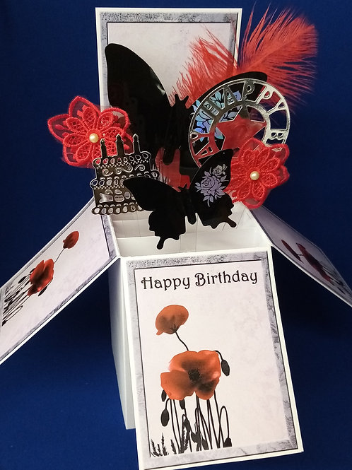 Ladies Birthday Card with Poppies