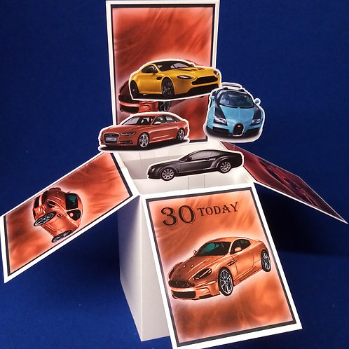 Men's 30th Birthday Card with Cars