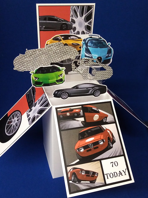 Men's 70th Birthday Card with Cars