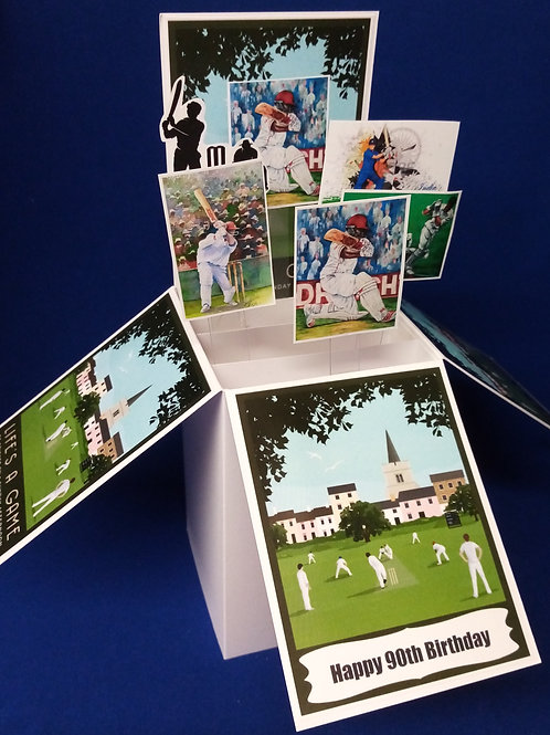 Men's 90th Birthday Card with Cricket