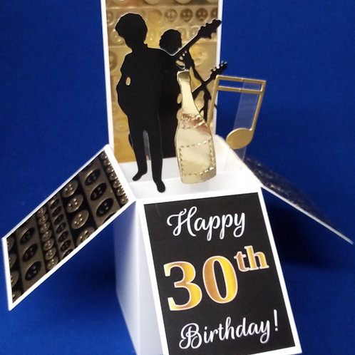 Men's 30th Birthday Card with Music