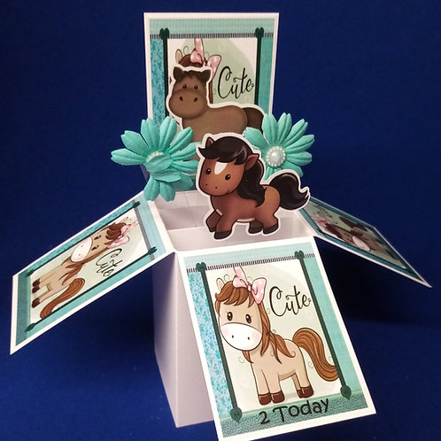 Girls 2nd Birthday Card with Horses