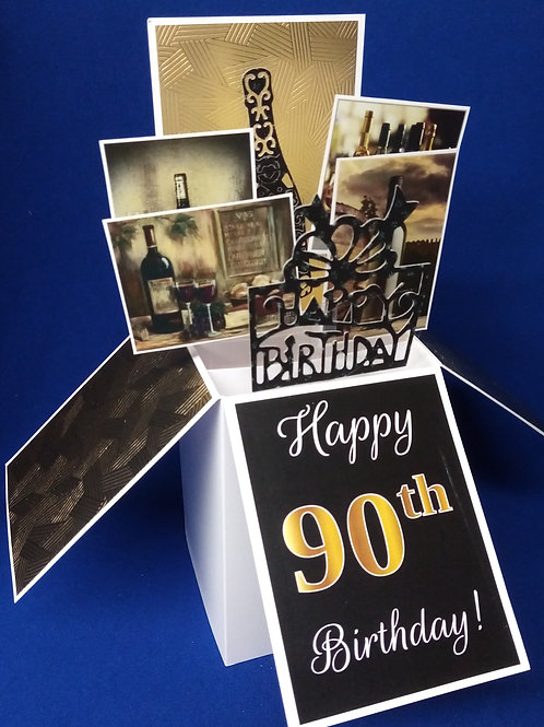 Men's 90th Birthday Card with Wine